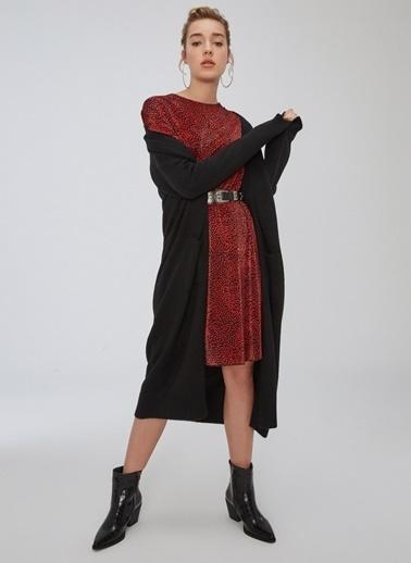 People By Fabrika Piliseli Desenli Bol Kesim Elbise Kırmızı